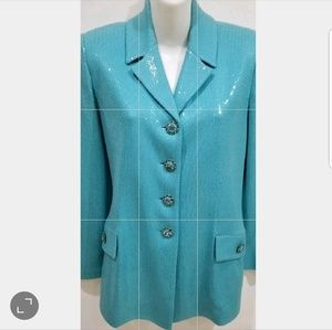Beautiful St. John aqua blue blazer